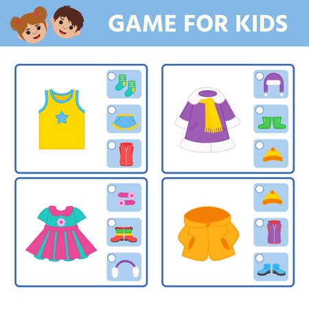 Educational worksheet for children. Game for Kids. Find matching item. clothes. Activity Worksheet for kids learning forms. Logic puzzle game. Vector illustration