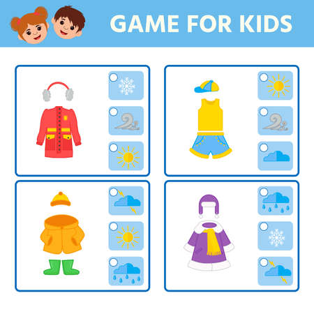 Educational worksheet for children. Game for Kids. Find matching item. weather. Activity Worksheet for kids learning forms. Logic puzzle game. Vector illustration 向量圖像