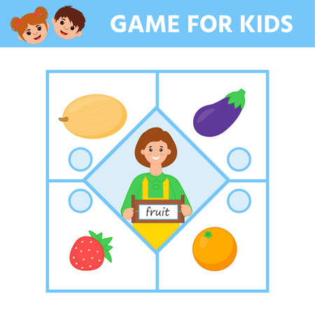 Game for Preschool Children. Find matching item. Connect fruit. Activity page for kids. Children funny riddle entertainment. Logic puzzle game.