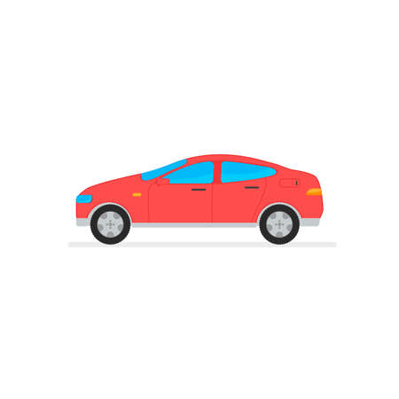 Vector red car in white background. Vector illustration transport 向量圖像