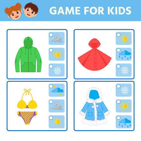 Educational worksheet for children. Game for Kids. Find matching item. weather. Activity  Worksheet for kids learning forms. Logic puzzle game. Vector illustration