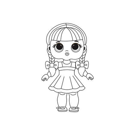 Cute Lol doll. Coloring book for kids. Color vector illustration. Design for baby girl, t-shirt, decoration birthday invitation, greeting card, banner, poster
