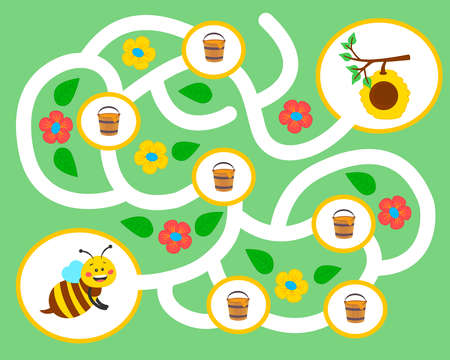 Vector maze game for preschool children. Learn count. Help the bee collect honey in the hive. Logic puzzle game. Activity  Worksheet for kids learning forms.  向量圖像
