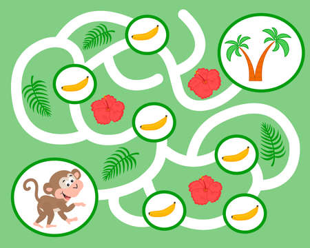Vector maze game for preschool children. Learn count. Help the monkey pick bananas. Logic puzzle game. Activity  Worksheet for kids learning forms.