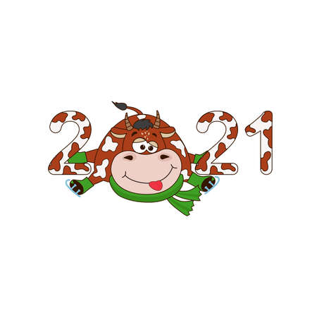 Symbol new year 2021 - Cartoon funny bull, cow. Christmas illustration template for poster, postcard or calendar, invitation
