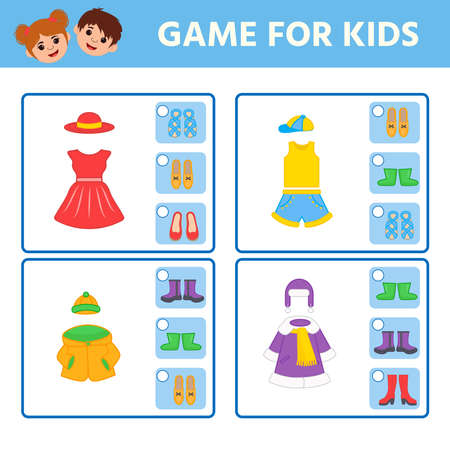 Educational worksheet for children. Game for Kids. Find matching item. clothes and shoes. Activity  Worksheet for kids learning forms. Logic puzzle game. Vector illustration