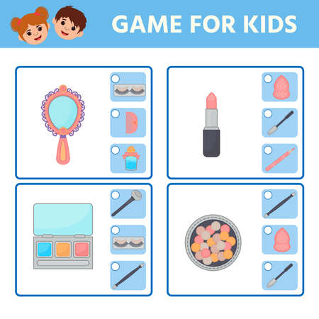 Educational worksheet for children. Game for Kids. Find matching item. cosmetic objects. Activity  Worksheet for kids learning forms. Logic puzzle game. Vector illustration 向量圖像