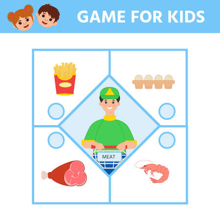 Game for Preschool Children. Find matching item.  Connect meat. Activity page for kids. Children funny riddle entertainment. Logic puzzle game