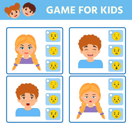 Math Game for children task for the development of logical thinking. We find the correspondence of emotion and emoticon. Preschool worksheet activity. vector illustration