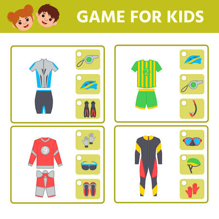 Educational worksheet for children. Game for Kids. Find matching item. sports uniforms. Activity Worksheet for kids learning forms. Logic puzzle game. Vector illustration 向量圖像