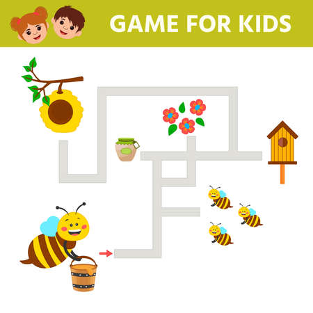 Educational worksheet for children. Game for Kids. Help the bee carry honey to the hive. Activity Worksheet for kids learning forms. Logic puzzle game. Vector illustration