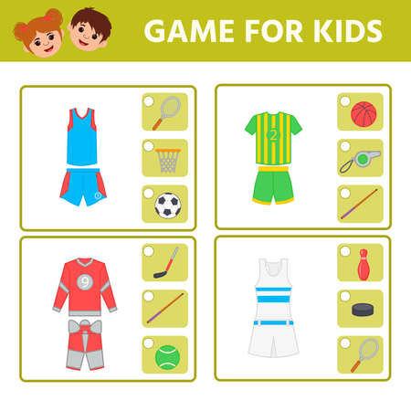 Funny game for children. Sports uniform: soccer tennis tennis hockey volleyball. Find matching item. Kids development and education