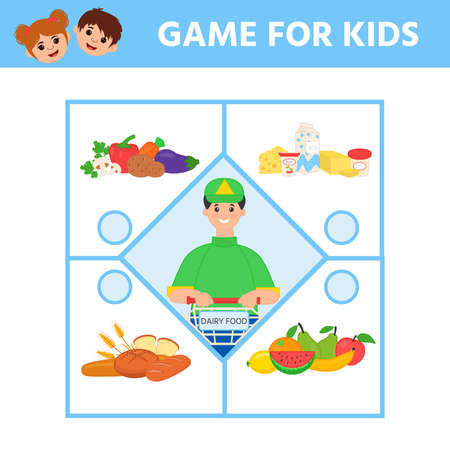 Funny game for children. Find matching item. Visual puzzle with Products and shop. Preschool worksheet activity. Children funny riddle entertainment 向量圖像