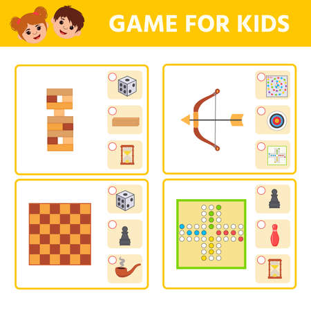 Educational worksheet for children. Game for Kids. Find matching item. Active board games. Activity  Worksheet for kids learning forms. Logic puzzle game. Vector illustration