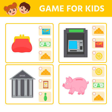 Educational worksheet for children. Game for Kids. Find matching item. Money. Activity  Worksheet for kids learning forms. Logic puzzle game. Vector illustration 向量圖像