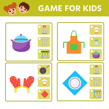 Educational worksheet for children. Game for Kids. Find matching item. Kitchen utensils. Activity  Worksheet for kids learning forms. Logic puzzle game. Vector illustration 向量圖像
