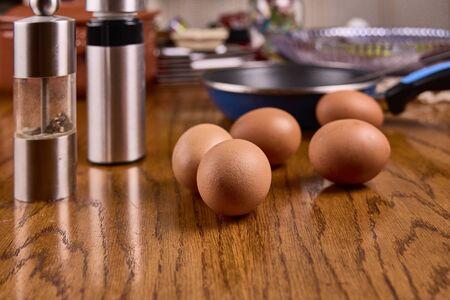 several fresh eggs on a table
