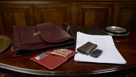 Portfolio, documents and press card of a journalist
