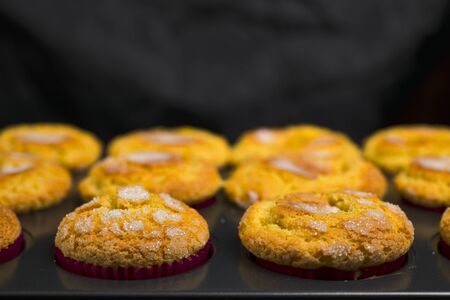 Tray with homemade muffins already baked in the oven