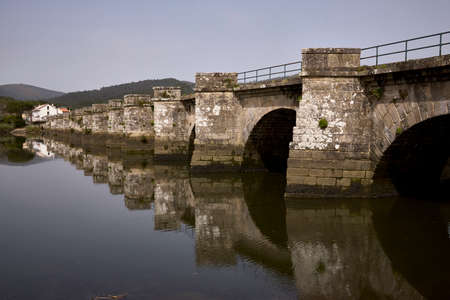 Medieval bridge of Ponte Nafonso, over the Tambre river, in northern Spain