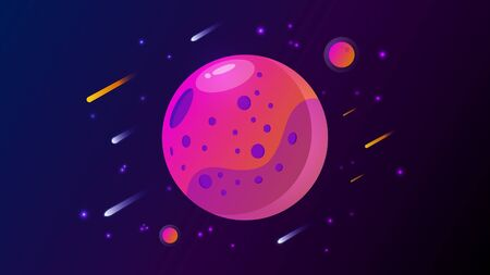 Purple and orange planet with little planets and comets and stars in space
