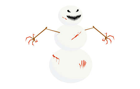 Creepy snowman with bloody hands and bloody splashes on his body. Isolated on white.