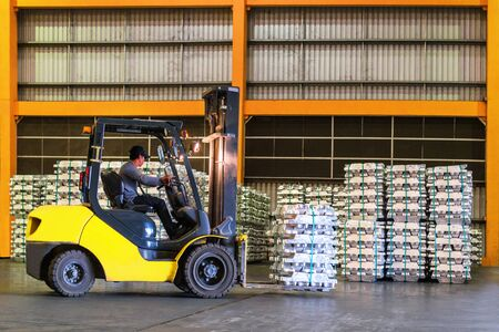 Forklift handling Aluminum Ingot for stuffing into container for export. Distribution, Logistics Import Export, Warehouse operation, Trading, Shipment, Delivery concept.