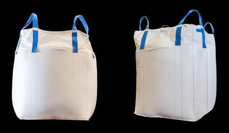 Jumbo bag of white sugar isolated on black