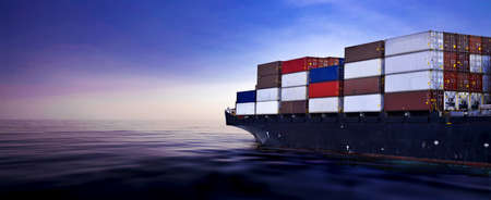 Container ship on the calm ocean with purple sky background and copy space. Container shipping, cargo shipping, and logistics concept.