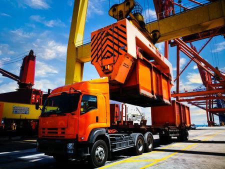 Bulk cargo loading equipment, loading sugar bulk to a vessel by rotainer.