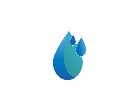 Set of abstract blue water drops symbols