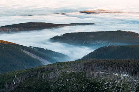 View from the top of Śnieżka, the highest peak of the Karkonosze Mountains