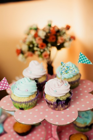 sugarpaste: Vintage Cupcakes on a stand Stock Photo