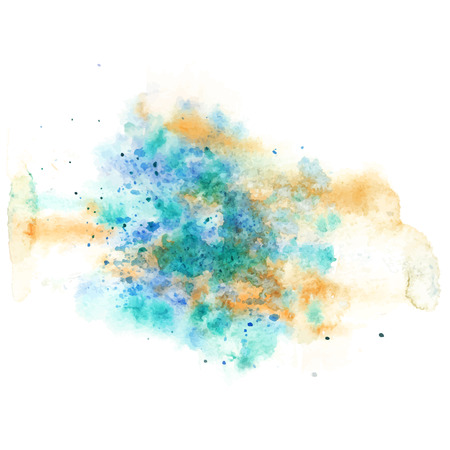 water stained: spot water color, blu color