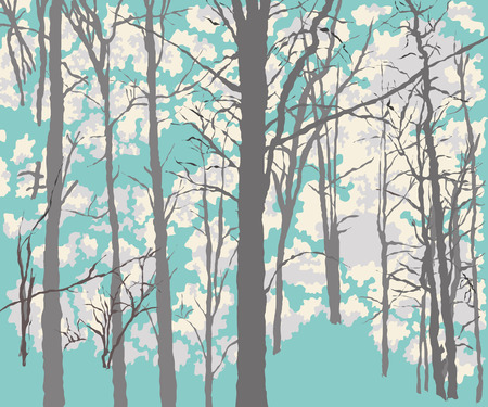 Background drawing of the dense green forest Illustration