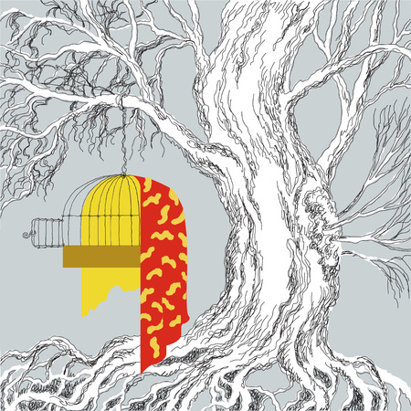 Wallpaper illustration of the tree and birds cage Vector