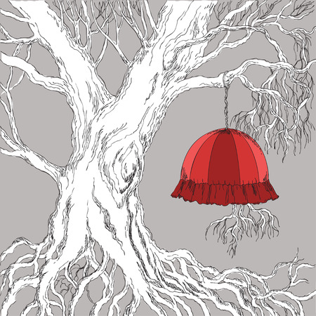 lampshade: wallpaper illustration of the tree and lampshade