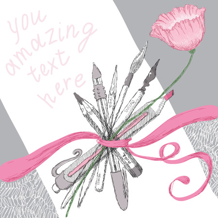 tape marker: Background drawing with a flower and pencils Illustration