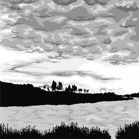 soir�e: Dessin avec un paysage de fond soir�e