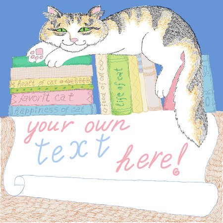 pampered: Manual drawing with cat and books Illustration
