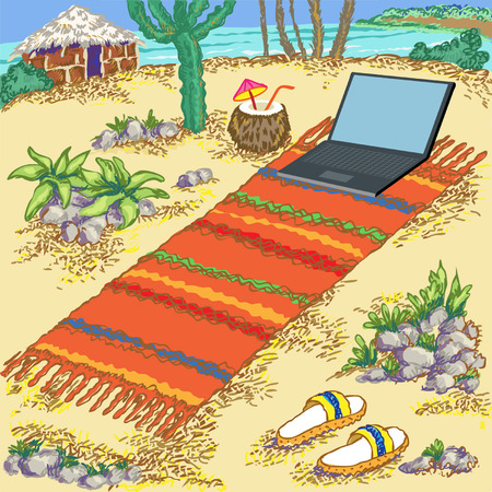 beach hut: Hand drawn vector illustration. Sea beach, hut and laptop.Freelance on the tropical island. Simple living.