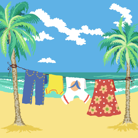 laying: Hand drawn vector illustration. Family vacation, simple living on the tropical coast.