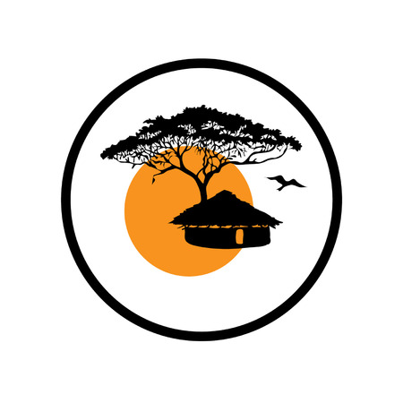 Black and white draving, icon with a Tropical Tree, African Hut, Sun.