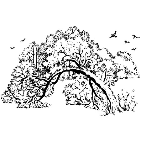 fallen tree: Hand drawn vector illustration.Winter landscape, the fallen tree under snow, the wood and the flying birds.