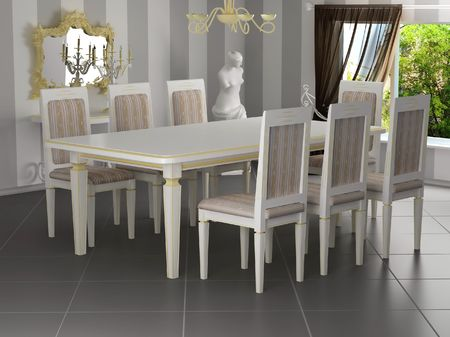 Classical interior,  dining table with chairs
