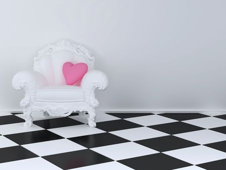 White armchair in a room with a pink pillow