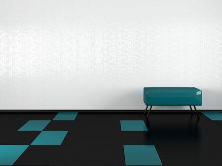 Green sofa in the empty white room, 3D illustrations. Black floor.
