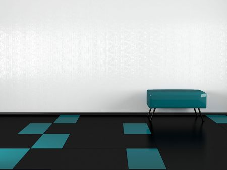 Green sofa in the empty white room, 3D illustrations. Black floor.