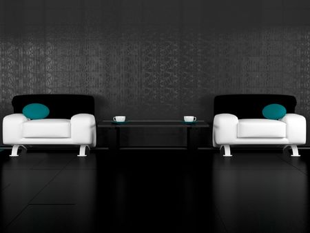 Modern living room for coffee break, 3d illustrations