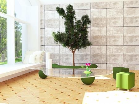 Modern interior design scene with a tree inside, 3d render  Imagens